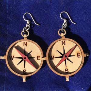 Jewelry - 🍒NWOT Laser Cut Wooden Compass Earrings